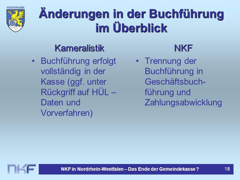 HIDDENHAUSEN NKF in Nordrhein-Westfalen – Das Ende der Gemeindekasse ? 18 Änderungen in der Buchführung im Überblick Kameralistik Buchführung erfolgt