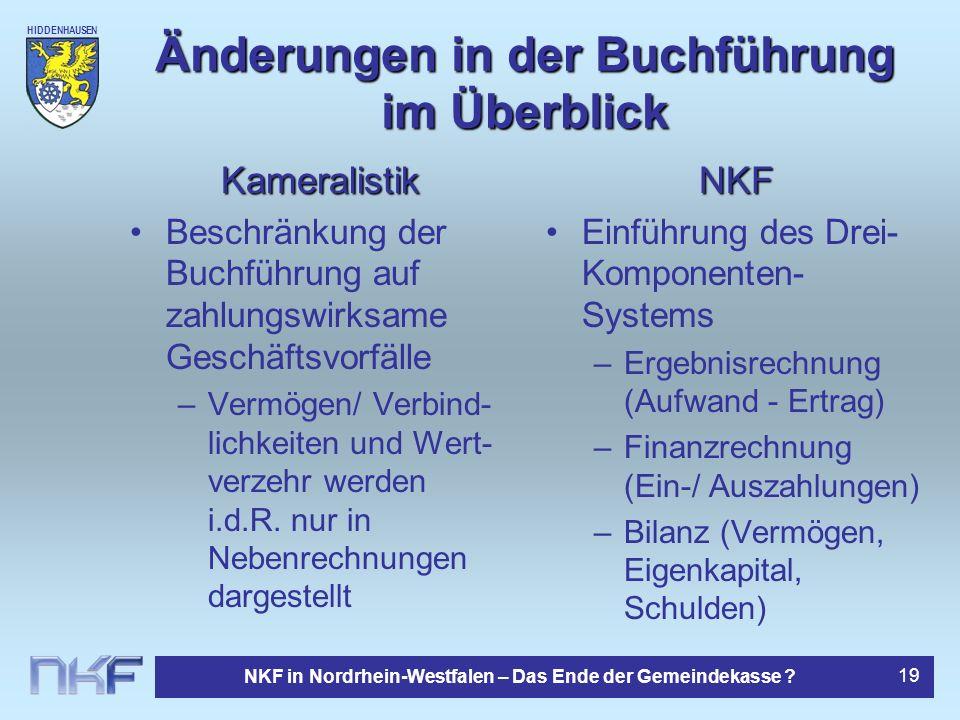 HIDDENHAUSEN NKF in Nordrhein-Westfalen – Das Ende der Gemeindekasse ? 19 Änderungen in der Buchführung im Überblick Kameralistik Beschränkung der Buc