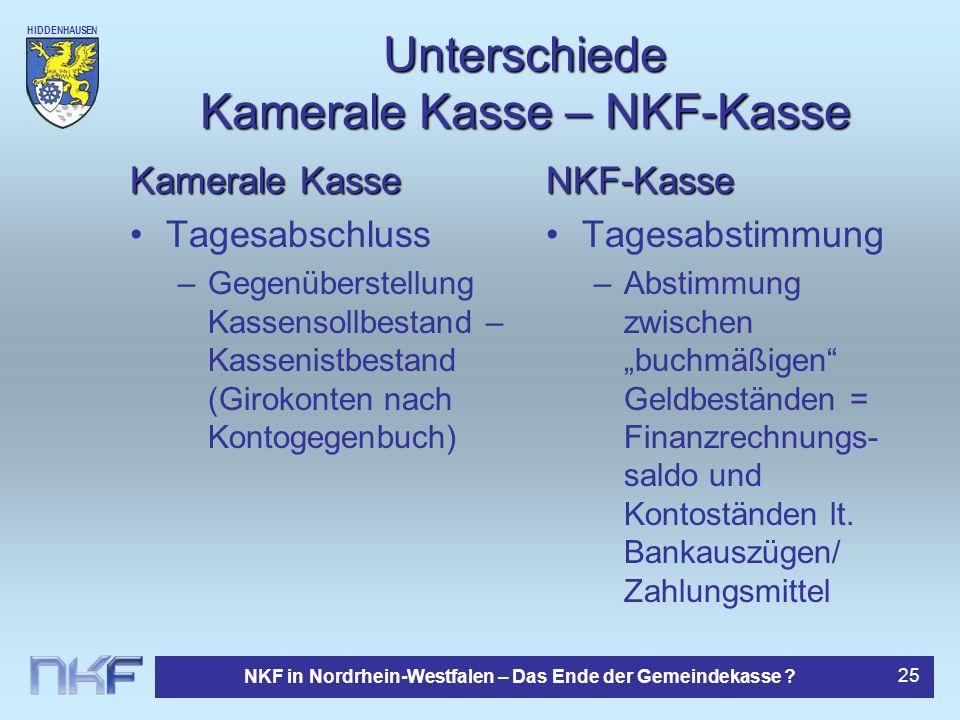 HIDDENHAUSEN NKF in Nordrhein-Westfalen – Das Ende der Gemeindekasse ? 25 Unterschiede Kamerale Kasse – NKF-Kasse Kamerale Kasse Tagesabschluss –Gegen