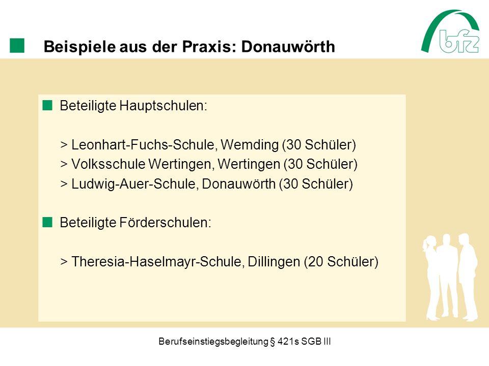 Berufseinstiegsbegleitung § 421s SGB III Beispiele aus der Praxis: Donauwörth Beteiligte Hauptschulen: > Leonhart-Fuchs-Schule, Wemding (30 Schüler) >