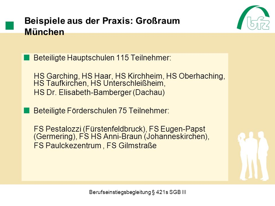 Berufseinstiegsbegleitung § 421s SGB III Beispiele aus der Praxis: Großraum München Beteiligte Hauptschulen 115 Teilnehmer: HS Garching, HS Haar, HS K
