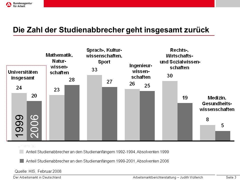 Seite 3 Der Arbeitsmarkt in Deutschland Arbeitsmarktberichterstattung – Judith Wüllerich 19992006 Die Zahl der Studienabbrecher geht insgesamt zurück