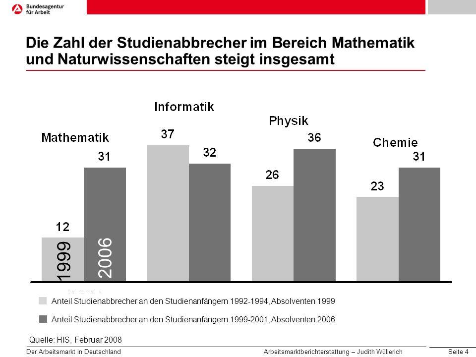 Seite 4 Der Arbeitsmarkt in Deutschland Arbeitsmarktberichterstattung – Judith Wüllerich Die Zahl der Studienabbrecher im Bereich Mathematik und Natur