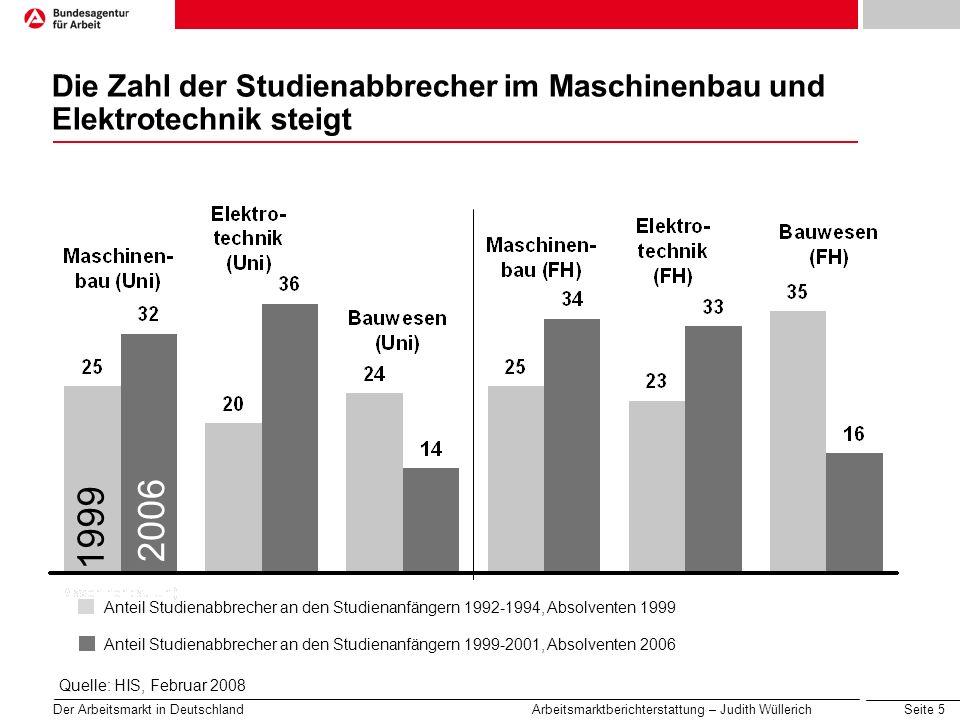 Seite 5 Der Arbeitsmarkt in Deutschland Arbeitsmarktberichterstattung – Judith Wüllerich Die Zahl der Studienabbrecher im Maschinenbau und Elektrotech