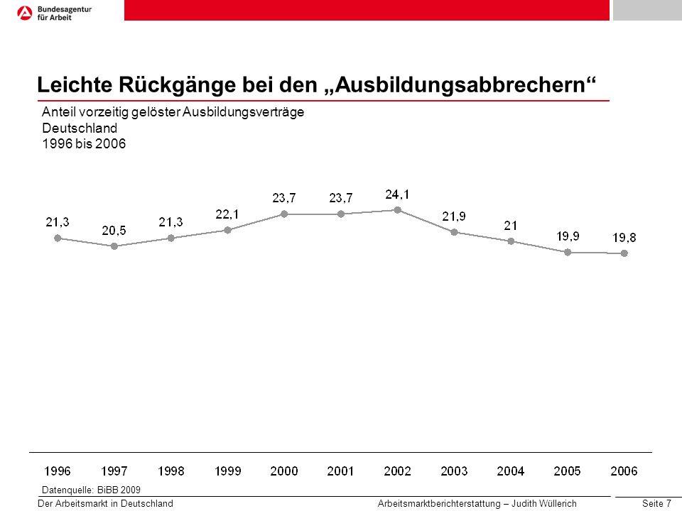 Seite 7 Der Arbeitsmarkt in Deutschland Arbeitsmarktberichterstattung – Judith Wüllerich Leichte Rückgänge bei den Ausbildungsabbrechern Anteil vorzei