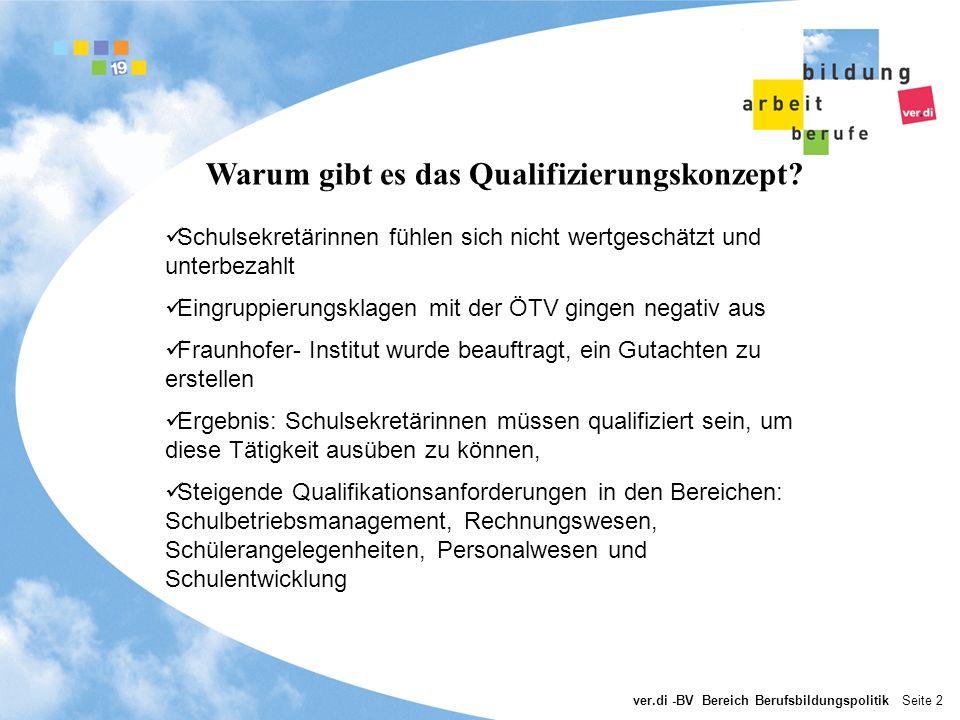 ver.di -BV Bereich Berufsbildungspolitik Seite 3 Wie ist das Qualifizierungskonzept entstanden.