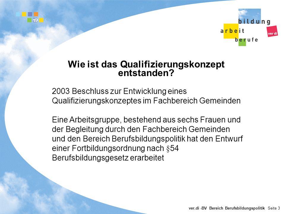 ver.di -BV Bereich Berufsbildungspolitik Seite 3 Wie ist das Qualifizierungskonzept entstanden? 2003 Beschluss zur Entwicklung eines Qualifizierungsko