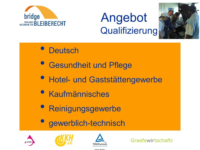 Angebot Qualifizierung Deutsch Gesundheit und Pflege Hotel- und Gaststättengewerbe Kaufmännisches Reinigungsgewerbe gewerblich-technisch