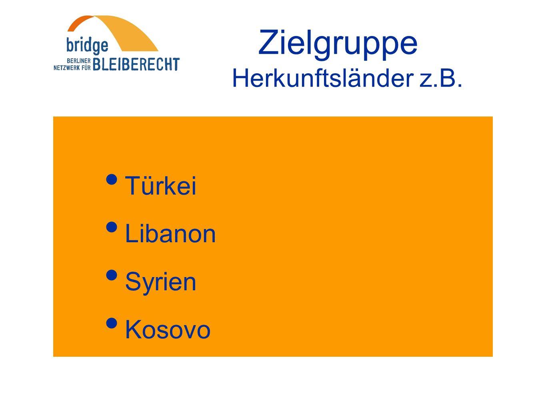 Zielgruppe Herkunftsländer z.B. Türkei Libanon Syrien Kosovo Serbien Bosnien Iran Irak