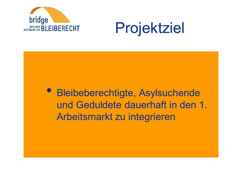 Projektziel Bleibeberechtigte, Asylsuchende und Geduldete dauerhaft in den 1.