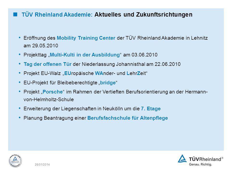 26/01/2014 TÜV Rheinland Akademie: Aktuelles und Zukunftsrichtungen Eröffnung des Mobility Training Center der TÜV Rheinland Akademie in Lehnitz am 29