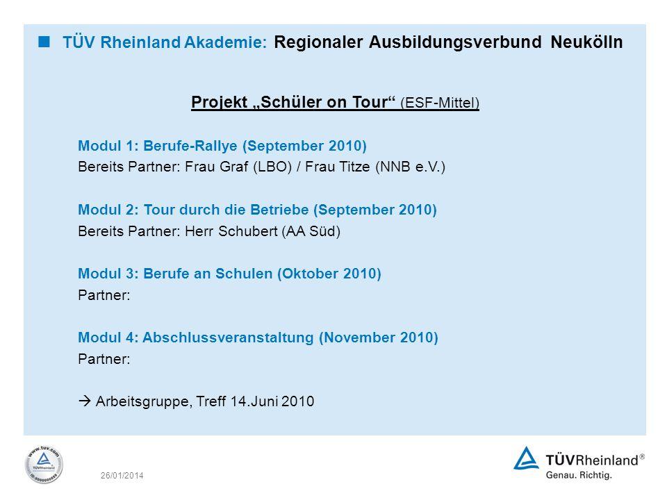 26/01/2014 Projekt Schüler on Tour (ESF-Mittel) Modul 1: Berufe-Rallye (September 2010) Bereits Partner: Frau Graf (LBO) / Frau Titze (NNB e.V.) Modul