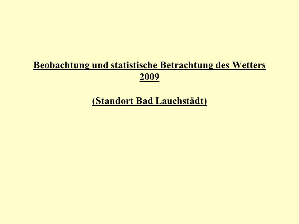 Beobachtung und statistische Betrachtung des Wetters 2009 (Standort Bad Lauchstädt)