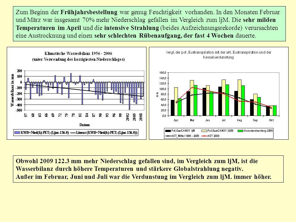 Zum Beginn der Frühjahrsbestellung war genug Feuchtigkeit vorhanden. In den Monaten Februar und März war insgesamt 70% mehr Niederschlag gefallen im V