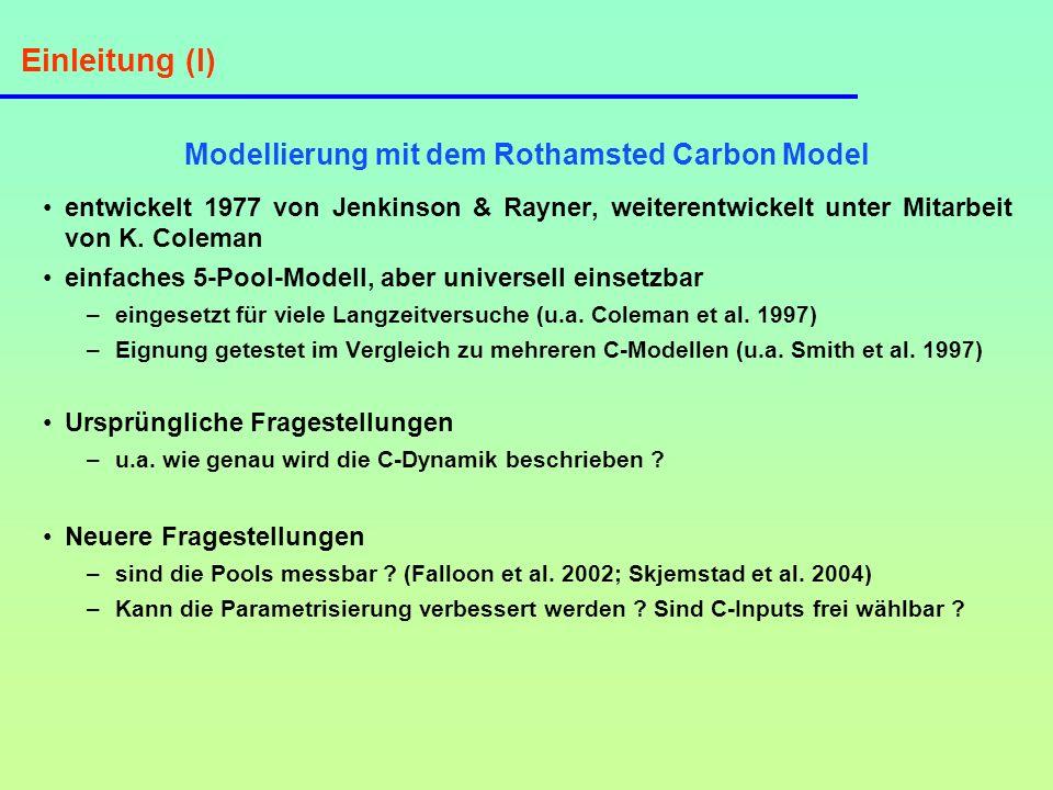 Einleitung (II) Struktur des Rothamsted Carbon Model Orga- nische Einträge Zersetzbares Pflanzenma- terial (DPM) Schwer zersetzbares Pflanzenma- terial (RPM) Inerte organische Substanz (IOM) Humifizierte organische Sub- stanz (HUM) Mikrobielle Bio- masse (Cmic) CO 2 HUM Cmic CO 2 (Coleman & Jenkinson, 1999) Abbau der Pools DPM, RPM, Cmic und HUM jeweils: Y = Y 0 (1 - e - k t ) : Temperatureinfluß, : Bodenfeuchteeinfluß, : Vegetationseinfluß, k = Abbaukonstanten k 1 - k 4, t = Zeit