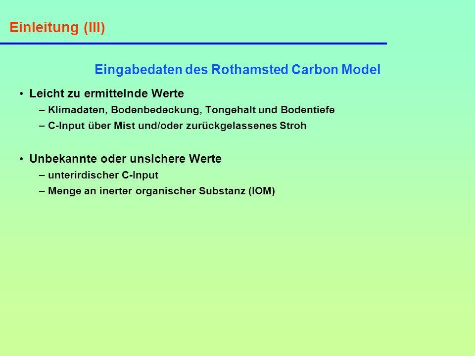 Einleitung (III) Eingabedaten des Rothamsted Carbon Model Leicht zu ermittelnde Werte – Klimadaten, Bodenbedeckung, Tongehalt und Bodentiefe – C-Input