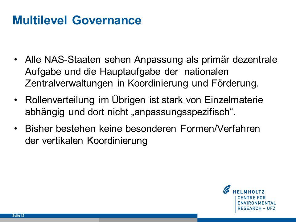 Multilevel Governance Alle NAS-Staaten sehen Anpassung als primär dezentrale Aufgabe und die Hauptaufgabe der nationalen Zentralverwaltungen in Koordinierung und Förderung.
