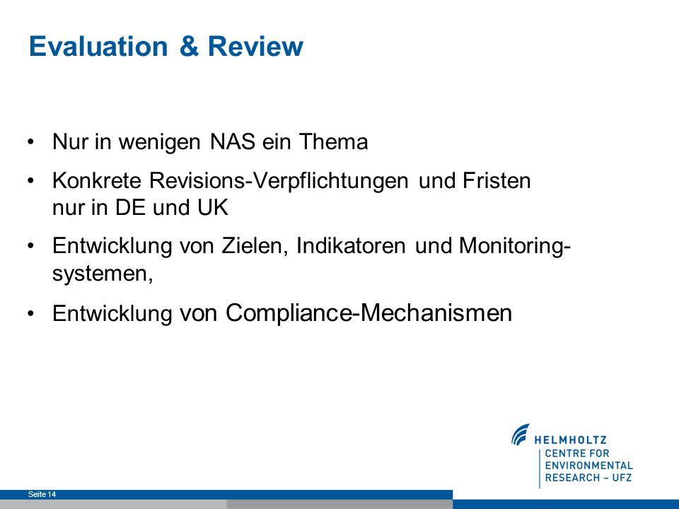 Evaluation & Review Nur in wenigen NAS ein Thema Konkrete Revisions-Verpflichtungen und Fristen nur in DE und UK Entwicklung von Zielen, Indikatoren und Monitoring- systemen, Entwicklung von Compliance-Mechanismen Seite 14