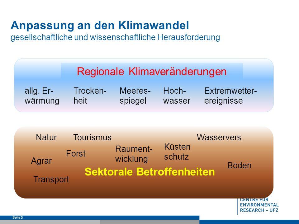 Seite 3 Anpassung an den Klimawandel gesellschaftliche und wissenschaftliche Herausforderung Regionale Klimaveränderungen Meeres- spiegel Trocken- heit allg.