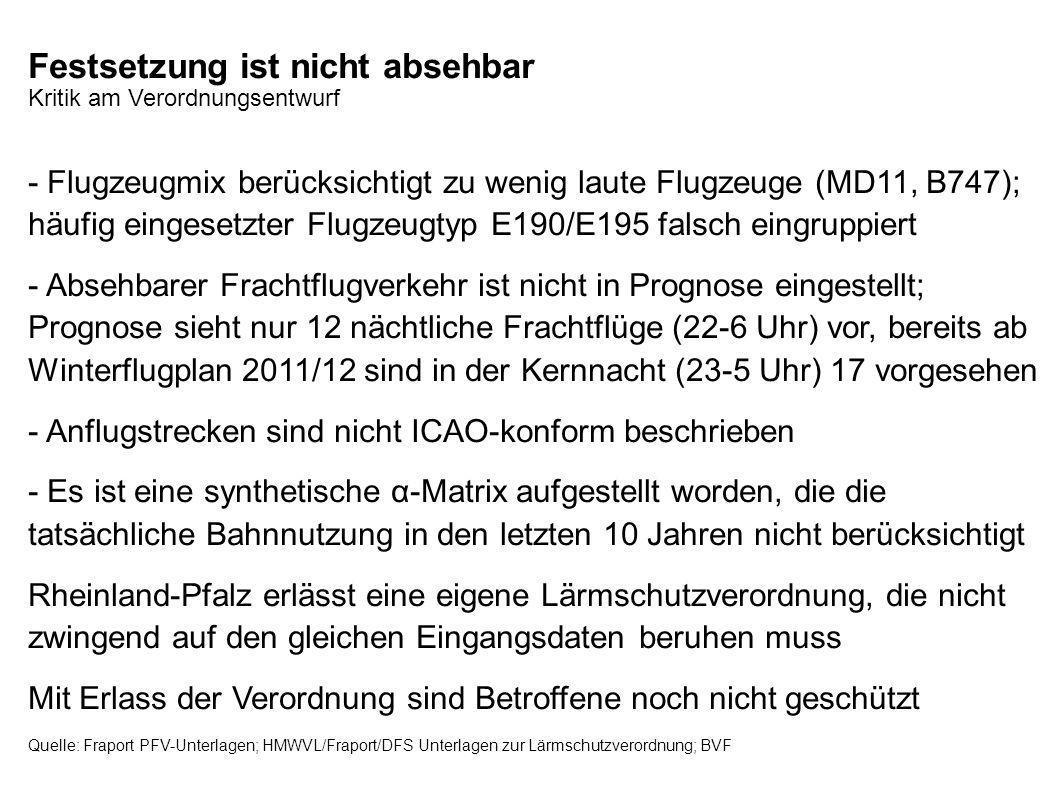 Festsetzung ist nicht absehbar Kritik am Verordnungsentwurf - Flugzeugmix berücksichtigt zu wenig laute Flugzeuge (MD11, B747); häufig eingesetzter Fl