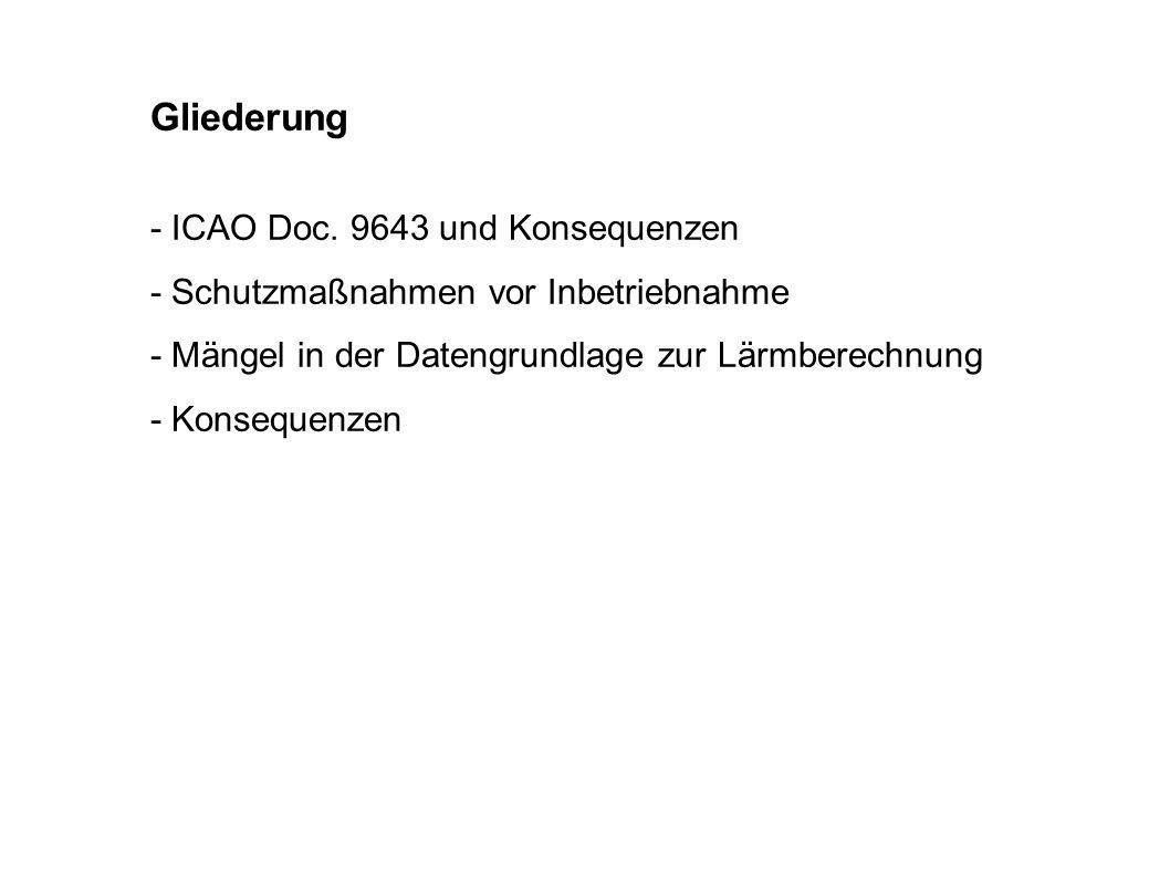Gliederung - ICAO Doc. 9643 und Konsequenzen - Schutzmaßnahmen vor Inbetriebnahme - Mängel in der Datengrundlage zur Lärmberechnung - Konsequenzen