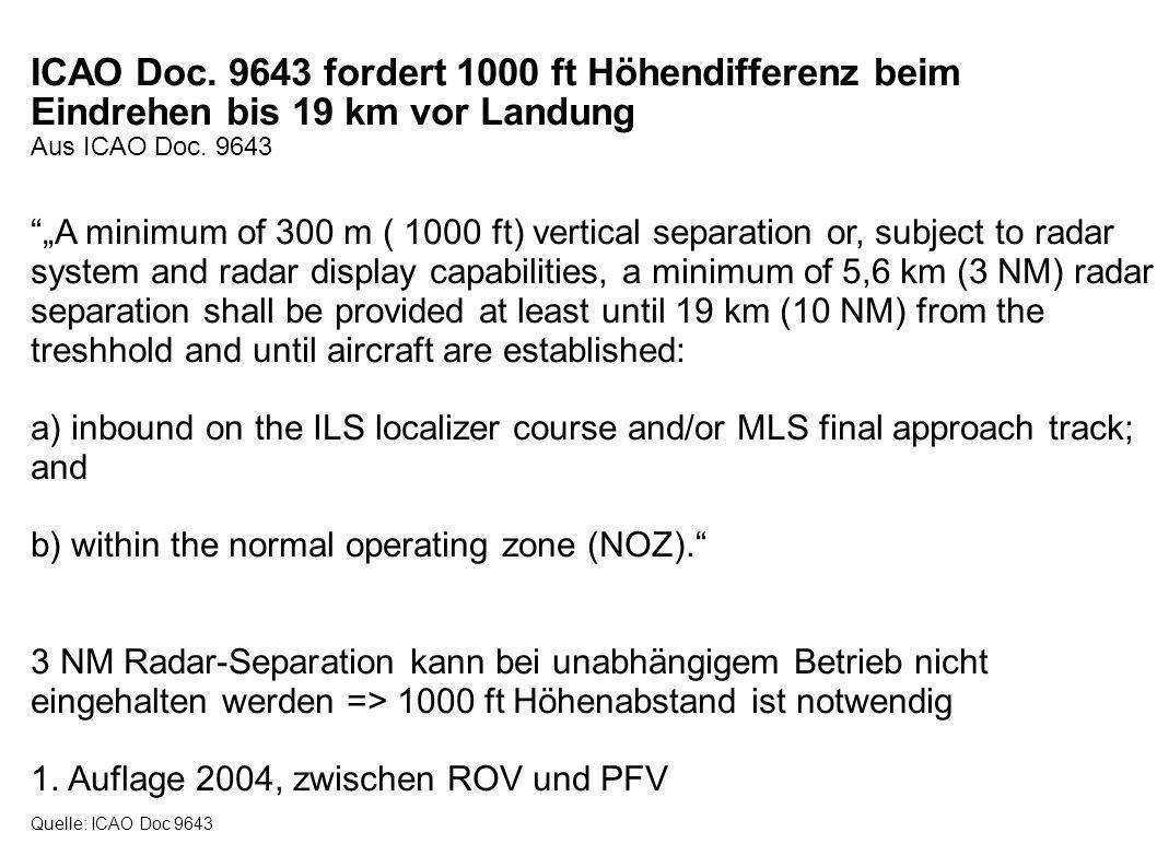 Bei Betriebsrichtung 25 ist muss ein Zwischenanflug in 2500 ft erfolgen Profildarstellung der Anflüge bei BR25 Quelle: Fuld Gelten 19 km für die fernere oder die nähere Bahn.