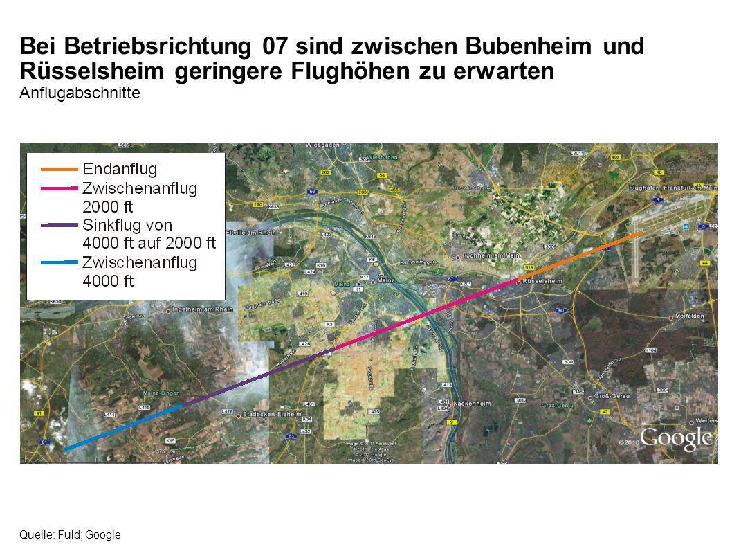 Bei Betriebsrichtung 07 sind zwischen Bubenheim und Rüsselsheim geringere Flughöhen zu erwarten Anflugabschnitte Quelle: Fuld; Google
