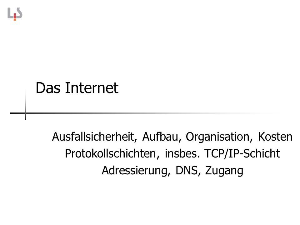 Das Internet Ausfallsicherheit, Aufbau, Organisation, Kosten Protokollschichten, insbes. TCP/IP-Schicht Adressierung, DNS, Zugang