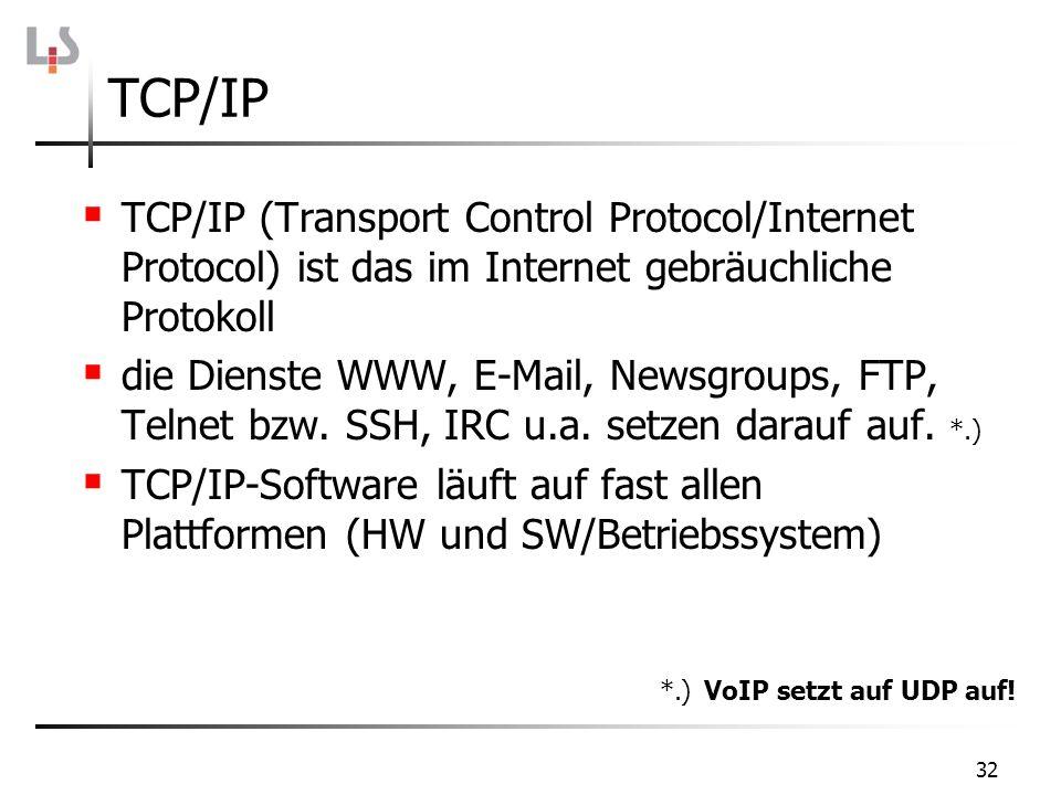 32 TCP/IP TCP/IP (Transport Control Protocol/Internet Protocol) ist das im Internet gebräuchliche Protokoll die Dienste WWW, E-Mail, Newsgroups, FTP,