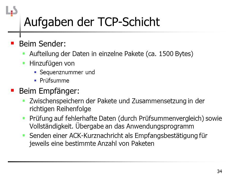 34 Aufgaben der TCP-Schicht Beim Sender: Aufteilung der Daten in einzelne Pakete (ca. 1500 Bytes) Hinzufügen von Sequenznummer und Prüfsumme Beim Empf