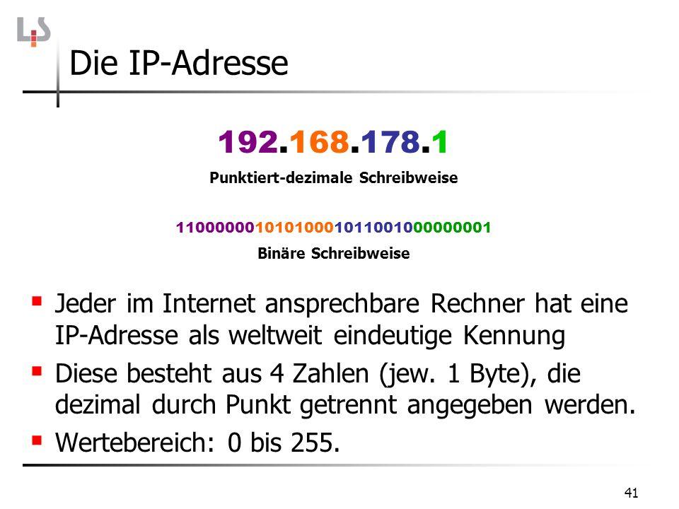 41 Jeder im Internet ansprechbare Rechner hat eine IP-Adresse als weltweit eindeutige Kennung Diese besteht aus 4 Zahlen (jew. 1 Byte), die dezimal du