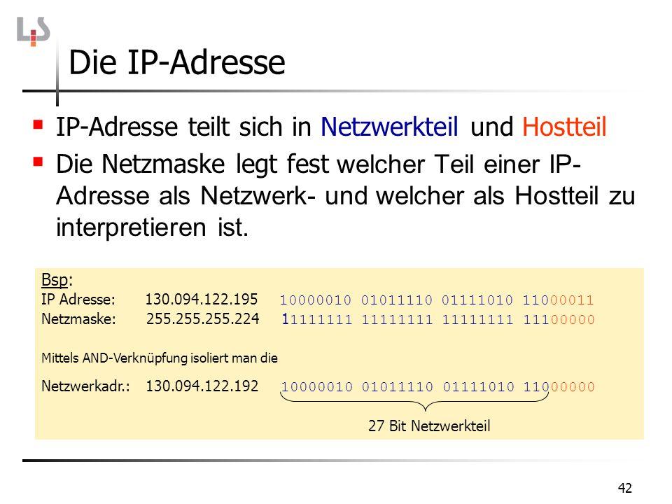 Die IP-Adresse IP-Adresse teilt sich in Netzwerkteil und Hostteil Die Netzmaske legt fest welcher Teil einer IP- Adresse als Netzwerk- und welcher als