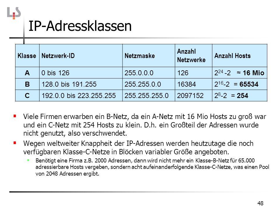 IP-Adressklassen 48 KlasseNetzwerk-IDNetzmaske Anzahl Netzwerke Anzahl Hosts A0 bis 126255.0.0.01262 24 -2 16 Mio B128.0 bis 191.255255.255.0.0163842