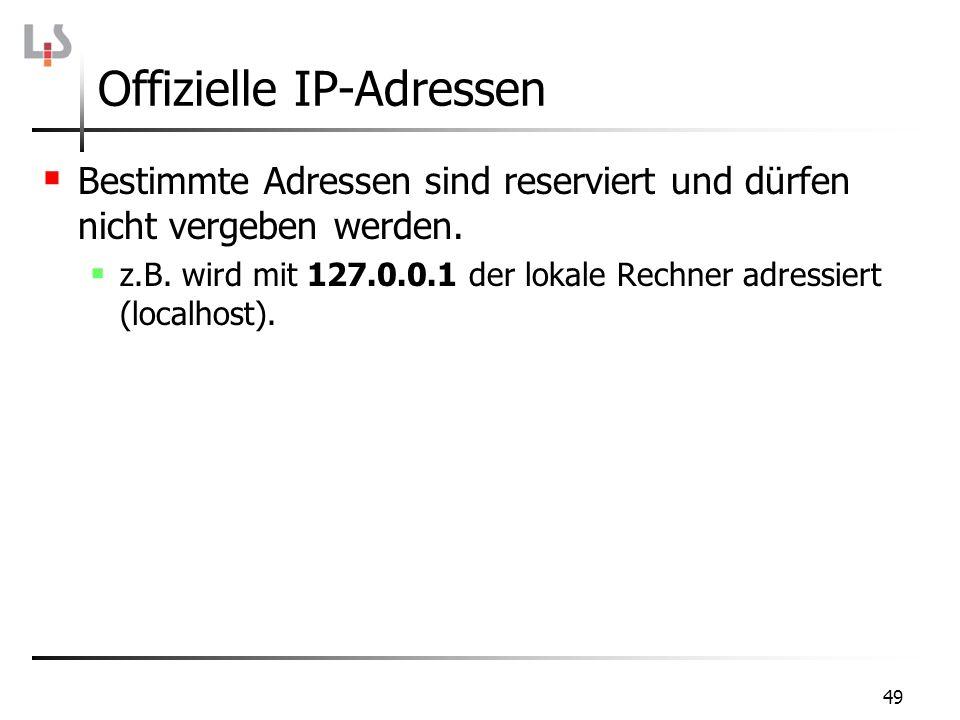 Offizielle IP-Adressen Bestimmte Adressen sind reserviert und dürfen nicht vergeben werden. z.B. wird mit 127.0.0.1 der lokale Rechner adressiert (loc