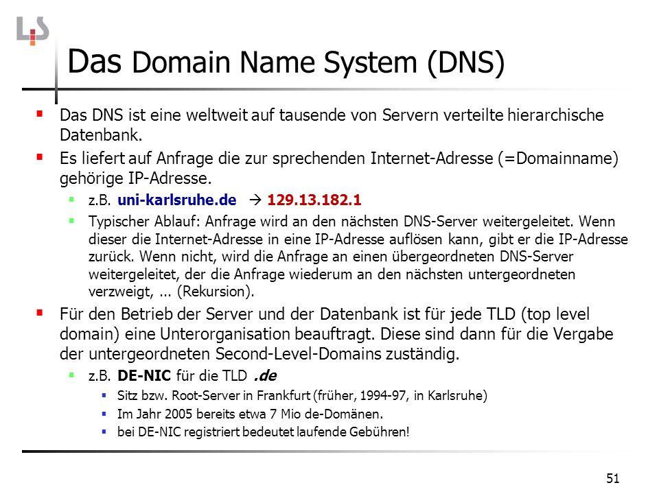 51 Das Domain Name System (DNS) Das DNS ist eine weltweit auf tausende von Servern verteilte hierarchische Datenbank. Es liefert auf Anfrage die zur s