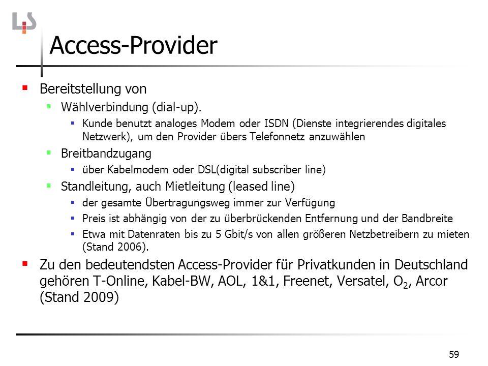 59 Access-Provider Bereitstellung von Wählverbindung (dial-up). Kunde benutzt analoges Modem oder ISDN (Dienste integrierendes digitales Netzwerk), um