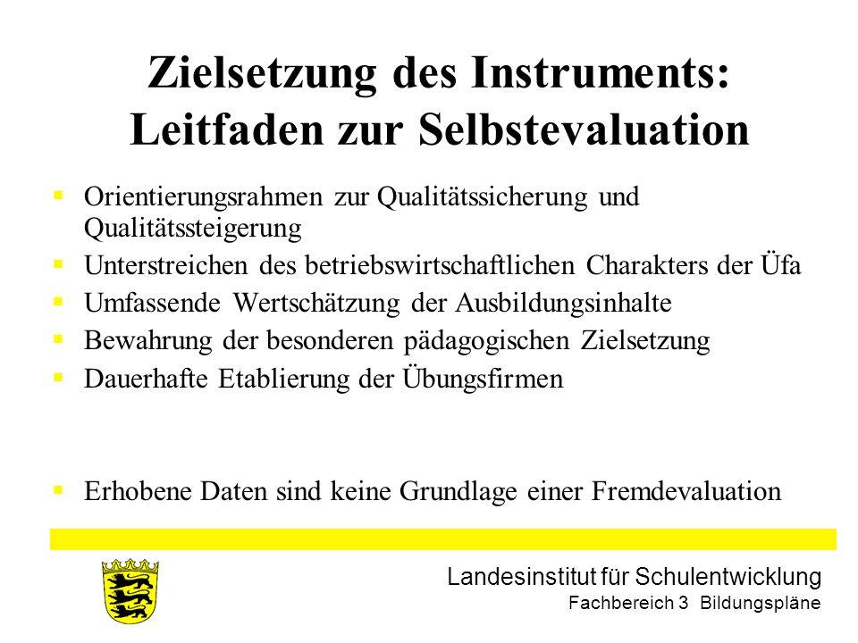 Landesinstitut für Schulentwicklung Fachbereich 3 Bildungspläne Zielsetzung des Instruments: Leitfaden zur Selbstevaluation Orientierungsrahmen zur Qu