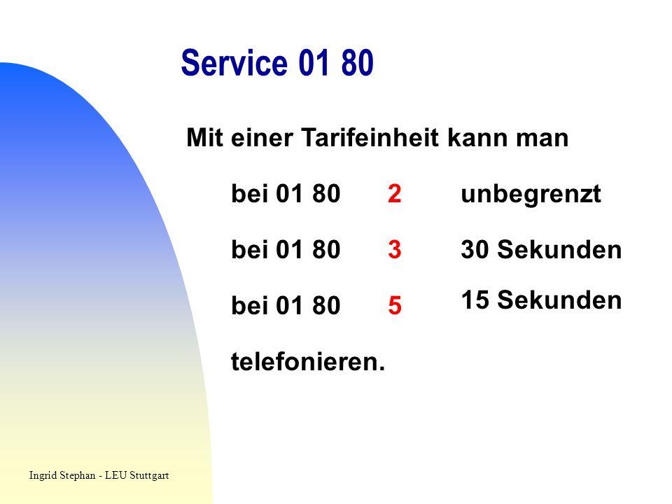 Service 01 80 Mit einer Tarifeinheit kann man bei 01 802unbegrenzt bei 01 80330 Sekunden bei 01 805 15 Sekunden telefonieren. Ingrid Stephan - LEU Stu