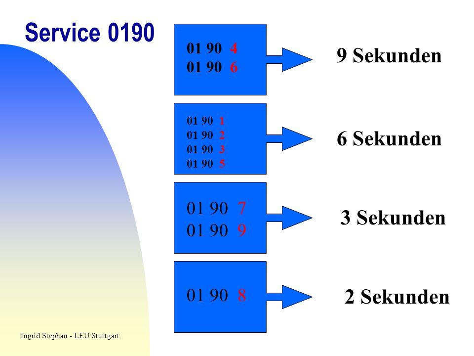 Service 0190 01 90 4 01 90 6 9 Sekunden 01 90 1 01 90 2 01 90 3 01 90 5 01 90 7 01 90 9 01 90 8 6 Sekunden 3 Sekunden 2 Sekunden Ingrid Stephan - LEU