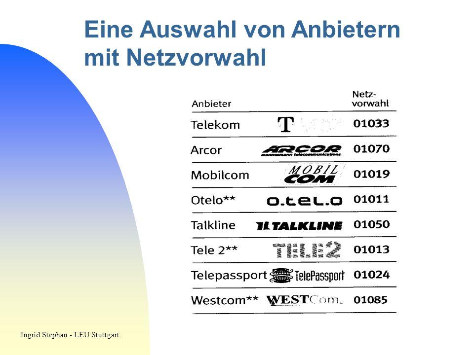 Eine Auswahl von Anbietern mit Netzvorwahl Ingrid Stephan - LEU Stuttgart