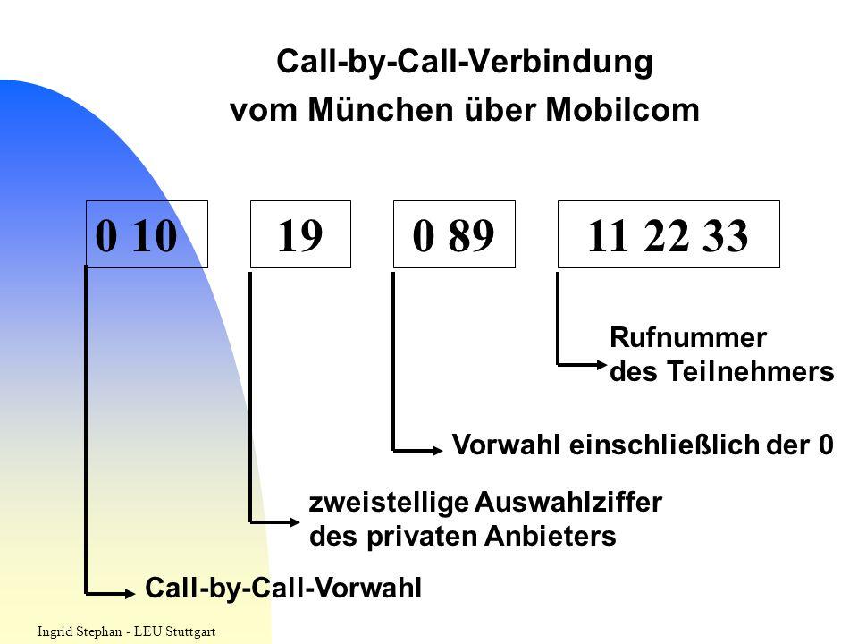 Call-by-Call-Verbindung vom München über Mobilcom 0 10190 8911 22 33 Call-by-Call-Vorwahl zweistellige Auswahlziffer des privaten Anbieters Vorwahl ei