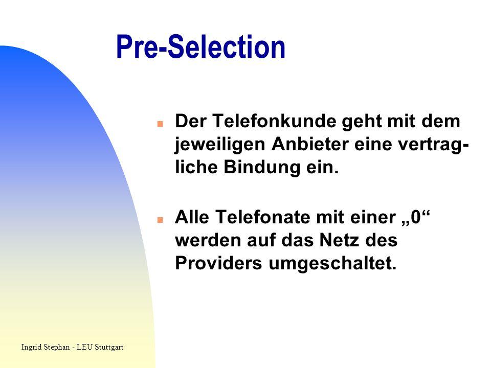 Pre-Selection n Der Telefonkunde geht mit dem jeweiligen Anbieter eine vertrag- liche Bindung ein. n Alle Telefonate mit einer 0 werden auf das Netz d