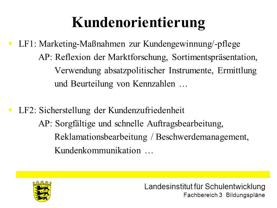 Landesinstitut für Schulentwicklung Fachbereich 3 Bildungspläne Kundenorientierung LF1: Marketing-Maßnahmen zur Kundengewinnung/-pflege AP: Reflexion