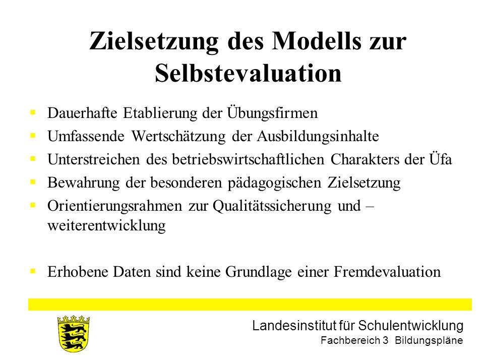 Landesinstitut für Schulentwicklung Fachbereich 3 Bildungspläne Zielsetzung des Modells zur Selbstevaluation Dauerhafte Etablierung der Übungsfirmen U