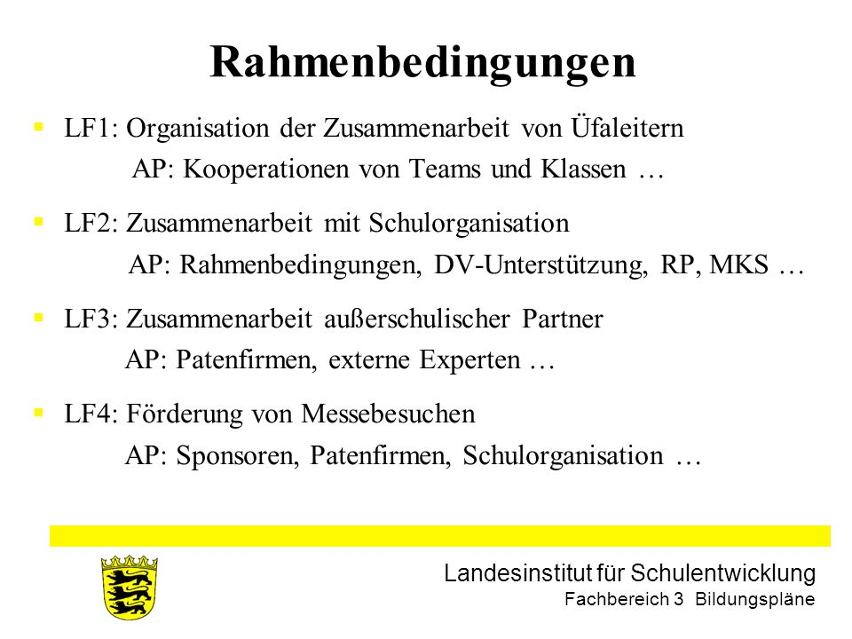 Landesinstitut für Schulentwicklung Fachbereich 3 Bildungspläne Rahmenbedingungen LF1: Organisation der Zusammenarbeit von Üfaleitern AP: Kooperatione