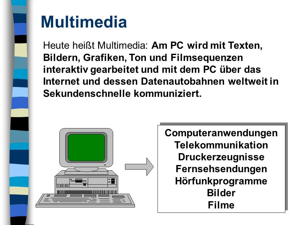 Multimedia Heute heißt Multimedia: Am PC wird mit Texten, Bildern, Grafiken, Ton und Filmsequenzen interaktiv gearbeitet und mit dem PC über das Internet und dessen Datenautobahnen weltweit in Sekundenschnelle kommuniziert.