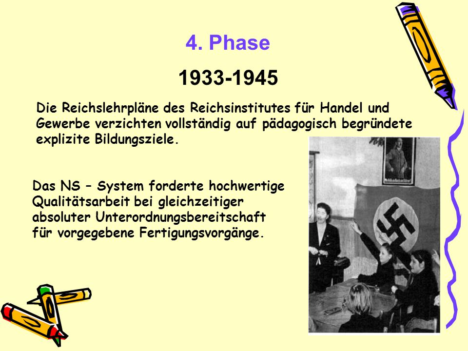 4. Phase 1933-1945 Die Reichslehrpläne des Reichsinstitutes für Handel und Gewerbe verzichten vollständig auf pädagogisch begründete explizite Bildung
