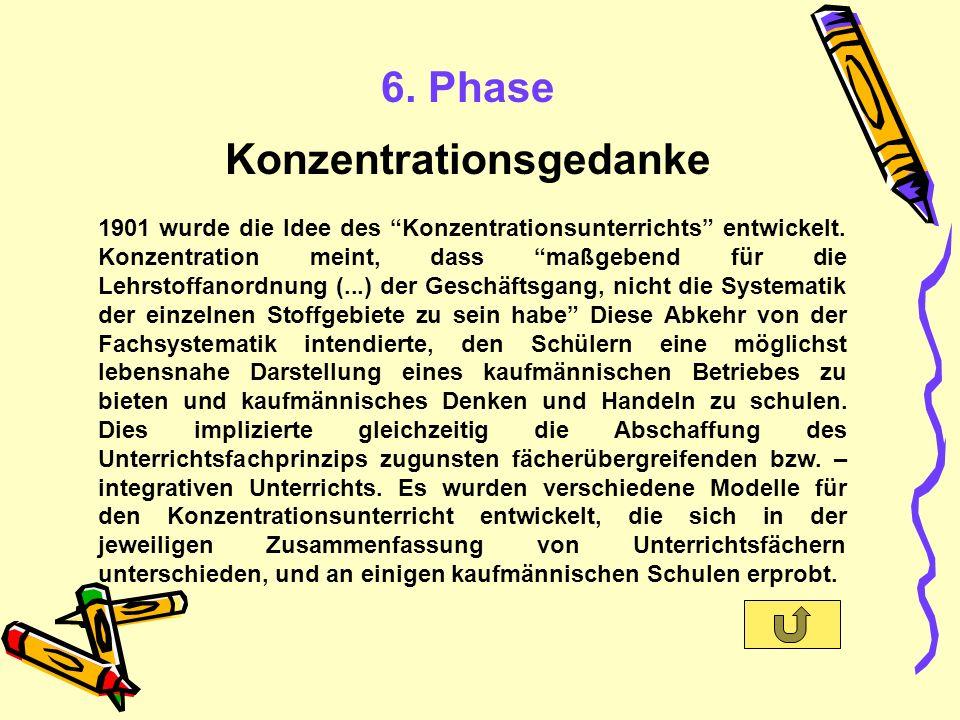6. Phase Konzentrationsgedanke 1901 wurde die Idee des Konzentrationsunterrichts entwickelt.