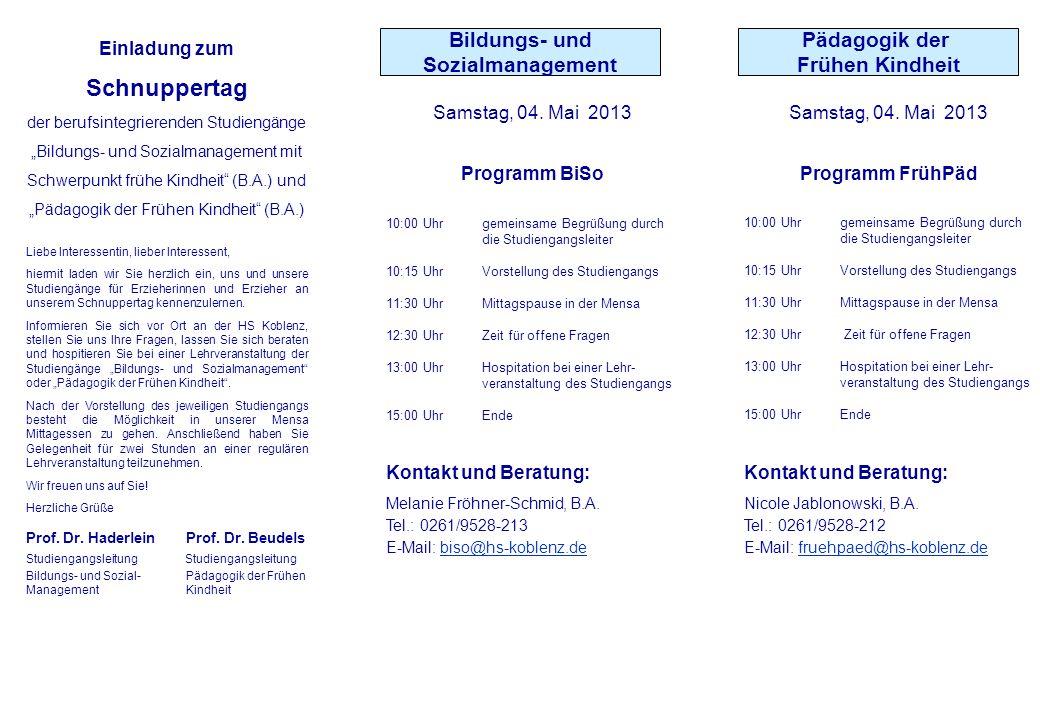 Samstag, 04. Mai 2013 Programm BiSo 10:00 Uhrgemeinsame Begrüßung durch die Studiengangsleiter 10:15 Uhr Vorstellung des Studiengangs 11:30 UhrMittags