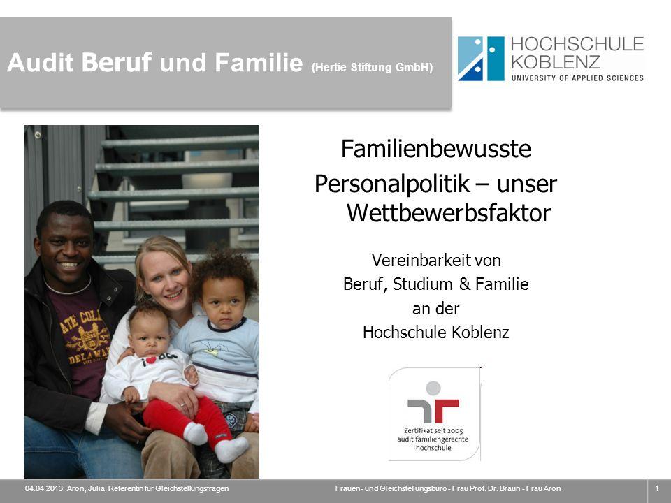 Audit Beruf und Familie (Hertie Stiftung GmbH) Familienbewusste Personalpolitik – unser Wettbewerbsfaktor Vereinbarkeit von Beruf, Studium & Familie a